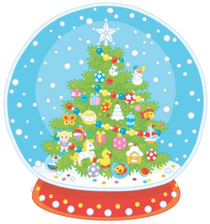 Sfera di cristallo con un albero di Natale decorato e neve che cade all'interno, illustrazione vettoriale in stile cartone animato