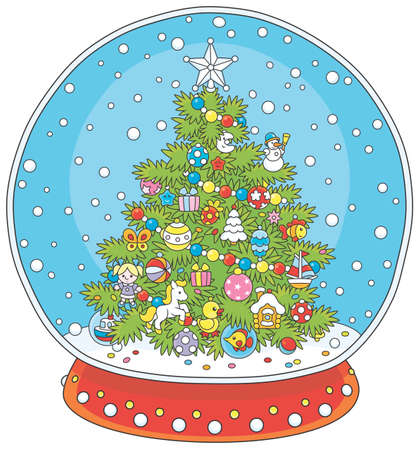 Crystal ball with a decorated Christmas tree and falling snow inside, vector illustration in a cartoon style Archivio Fotografico - 101586915