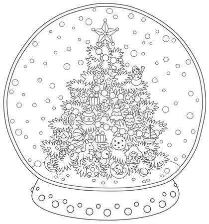 Crystal ball with a decorated Christmas tree and falling snow inside, black and white illustration in a cartoon style for a coloring book