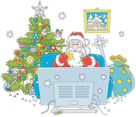 Santa Claus sitting on his sofa and watching TV near a decorated Christmas tree and a big bag of gifts, vector illustration in a cartoon style, on a white background