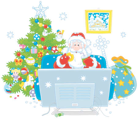 Santa Claus sitting on his sofa and watching TV near a decorated Christmas tree and a big bag of gifts, vector illustration