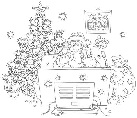 Santa Claus sitting on his sofa and watching TV near a decorated Christmas tree and a big bag of gifts, black and white vector illustration in a cartoon style for a coloring book Illustration