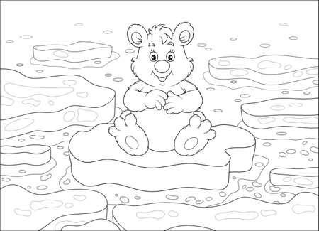 Polar bear sitting on a drifting ice floe in an arctic sea, black and white vector illustration in a cartoon style for a coloring book Banque d'images - 101898597