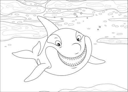 Killer whale swimming among drifting ice floes in a polar sea, black and white vector illustration in a cartoon style for a coloring book