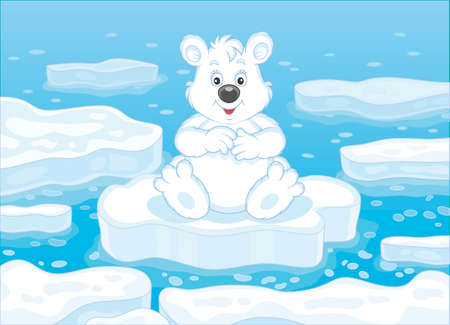 Polar bear sitting on a drifting ice floe in an arctic sea, vector illustration in a cartoon style Banque d'images - 101898617