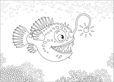 Anglerfish hunting deep in a sea, black and white vector illustration in a cartoon style for a coloring book