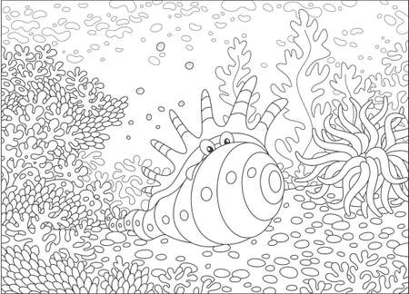 Exotic shell among corals Illustration