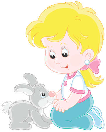 Little smiling girl playing with her small gray rabbit Vector Illustration