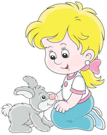 Little smiling girl playing with her little gray rabbit, vector illustration in a cartoon style