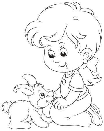 Little smiling girl playing with her little rabbit, black and white vector illustration in a cartoon style for a coloring book