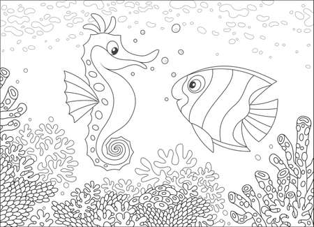 Seahorse and Butterflyfish among corals Illustration