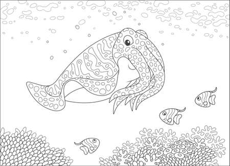 Cuttlefish and small butterflyfishes swimming over corals on a reef in a tropical sea, black and white vector illustration