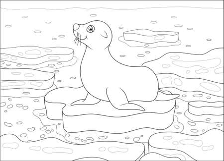 Seal on a drifting ice floe in a polar sea, black and white vector illustration in a cartoon style for a coloring book