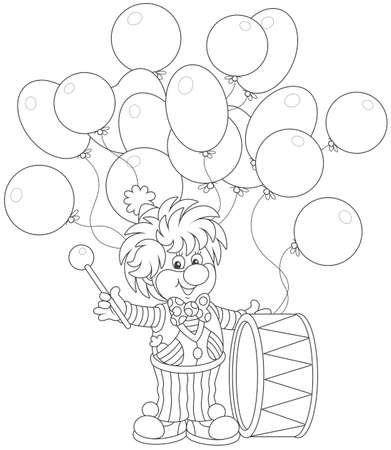 Funny circus clown beating his drum, black and white vector illustration in a cartoon style for a coloring book