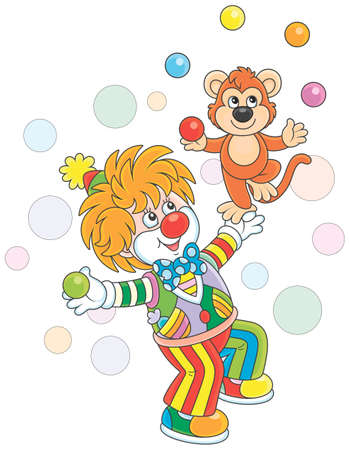 Funny circus clown with his small monkey juggling with color balls, vector illustration in a cartoon style