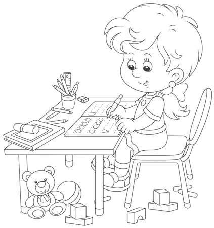 Bambina che fa i compiti in un quaderno con campioni di scrittura, illustrazione vettoriale in bianco e nero in stile cartone animato per un libro da colorare