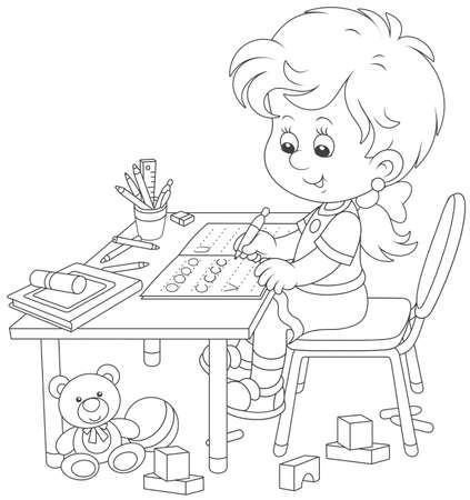 Little girl doing her homework in an exercise book with samples of writing, black and white vector illustration in a cartoon style for a coloring book