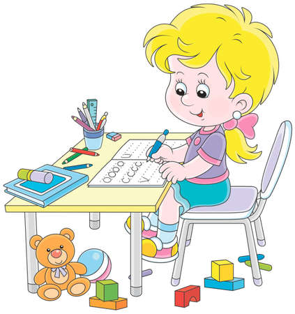 Little girl doing her homework in an exercise book with samples of writing, vector illustration in a cartoon style