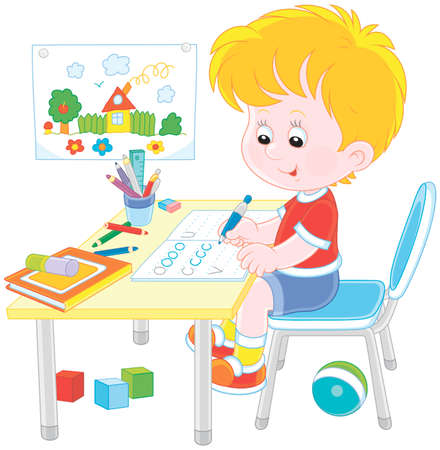 Little boy doing his homework in an exercise book with samples of writing, vector illustration in a cartoon style Vettoriali