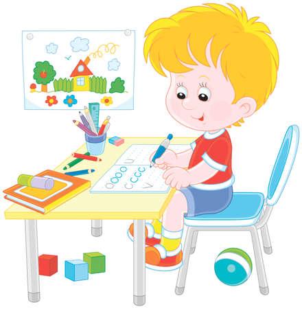 Ragazzino che fa i compiti in un quaderno con campioni di scrittura, illustrazione vettoriale in stile cartone animato