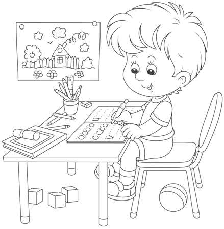 Little boy doing his homework in an exercise book with samples of writing, black and white a vector illustration in a cartoon style for a coloring book Ilustração