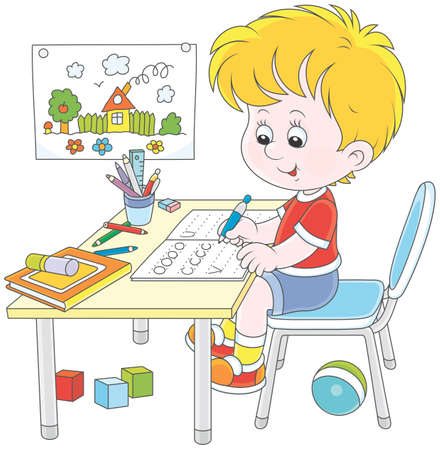 Little boy doing his homework in an exercise book with samples of writing, vector illustration in a cartoon style Çizim
