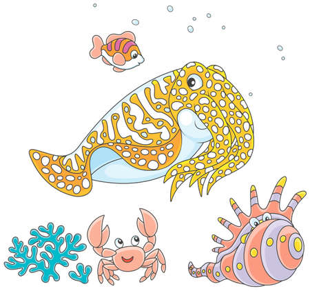 Spotted cuttlefish and a small striped fish swimming over a coral, a funny pink crab and a tropical shell Illustration