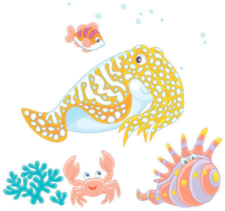 Spotted cuttlefish and a small striped fish swimming over a coral, a funny pink crab and a tropical shell, vector illustrations in a cartoon style