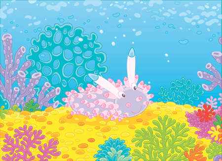 Funny sea monster mollusc among colorful corals on a reef in a tropical sea, vector illustration in a cartoon style Illustration