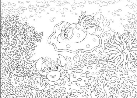 Funny sea monster mollusc and a small crab among amazing corals on a reef in a tropical sea, black and white vector illustration in a cartoon style for a coloring book