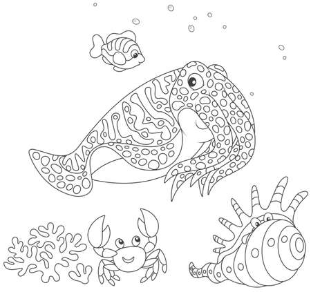 Spotted cuttlefish and a small striped fish swimming over a coral, a funny pink crab and a tropical shell, black and white vector illustration in a cartoon style for a coloring book Illustration