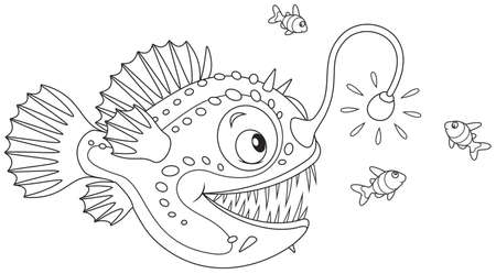 Anglerfish hunting in a cartoon style for a coloring book