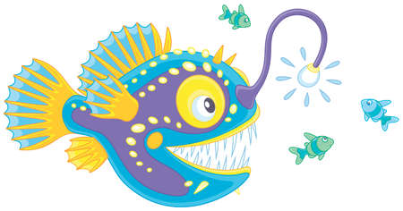 Anglerfish hunting deep in a sea on small fishes, vector illustration in a cartoon style