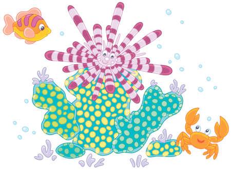 Erizo de mar rayado de espina larga, un pequeño cangrejo divertido y un pez colorido entre corales, ilustración vectorial en un estilo de dibujos animados