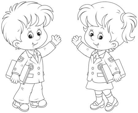 Schoolgirl and schoolboy holding textbooks and waving their hands in greeting, black and white vector illustration in a cartoon style Illustration