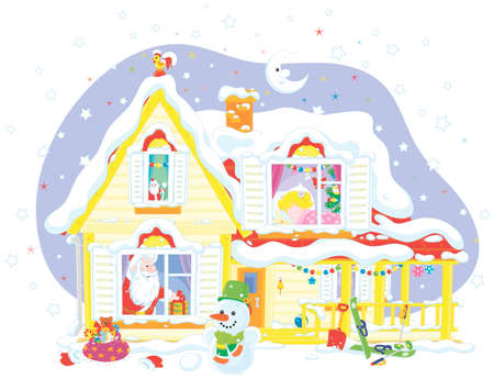 The night before Christmas, a snow-covered house, Santa Claus with his gifts for a little girl