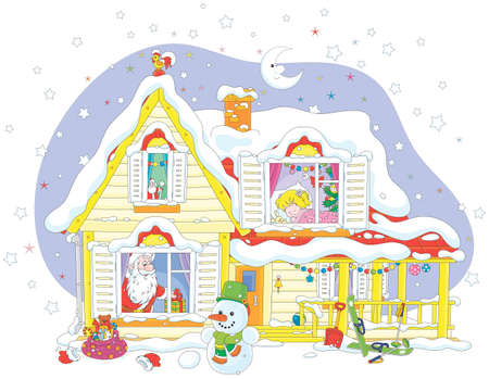 The night before Christmas, Santa Claus with his gifts for a little girl in a snow-covered house