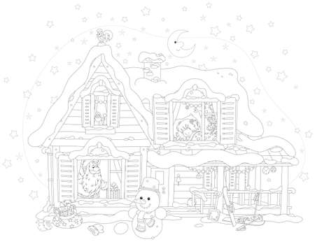 The night before Christmas, Santa Claus with gifts for a little girl in a snow-covered house, black and white vector illustration Illustration