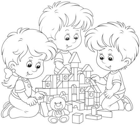Small children playing with bricks and building a toy house, black and white vector illustration Archivio Fotografico - 107952545