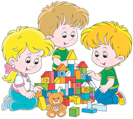 Bambini piccoli che giocano con mattoni multicolori e costruiscono una casa giocattolo