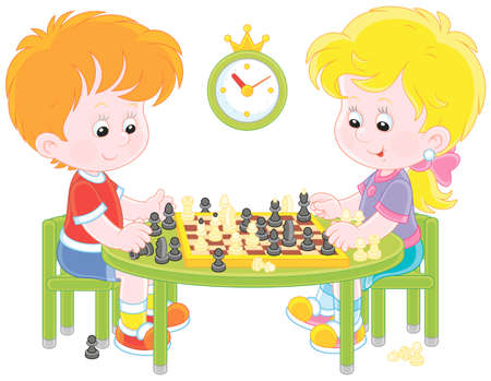 Small children playing chess, vector illustration in a cartoon style