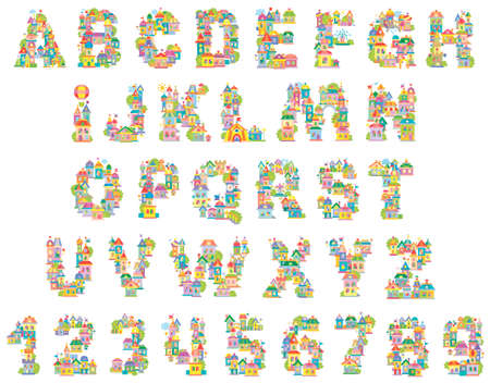 Font Toy Town. English alphabet and numerals made of colorful houses Ilustração