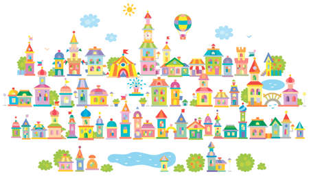 Toy town with a lake, small colorful houses and trees