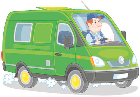 Driver in his fast delivery van, vector illustration in a cartoon style