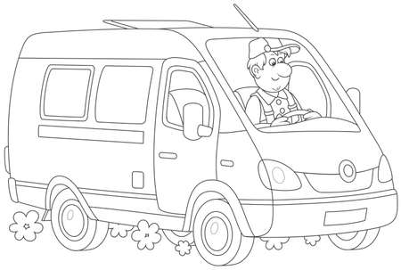 Driver in his fast delivery van, black and white vector illustration in a cartoon style
