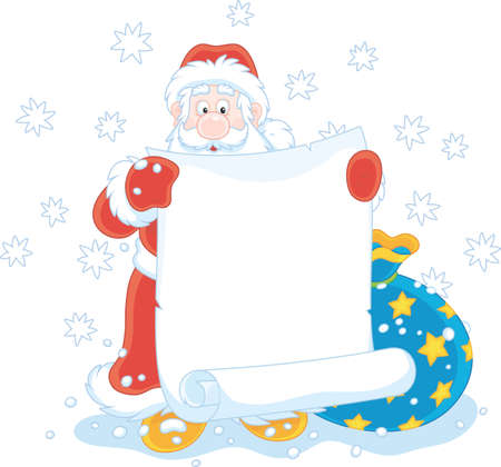 Santa Claus with a paper scroll and a bag of Christmas gifts Vector Illustration