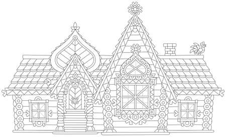 Decorated log house from a fairy tale, black and white vector illustration in a cartoon style