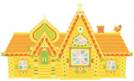 Maison en bois décorée de couleurs vives d'un conte de fées, illustration vectorielle dans un style cartoon
