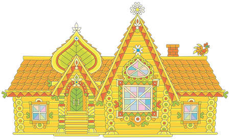 Colorfully decorated log house from a fairy tale, vector illustration in a cartoon style