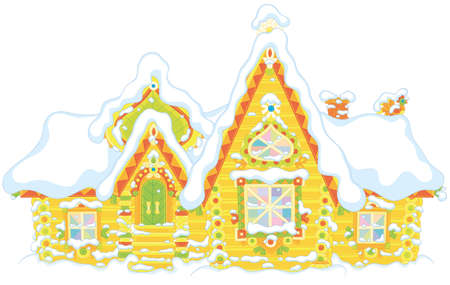 Colorfully decorated log house from a fairytale covered with snow, vector illustration in a cartoon style
